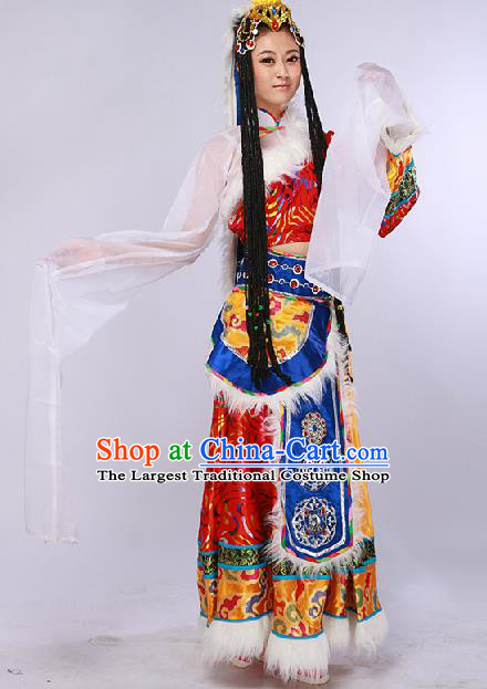 Chinese Traditional Ethnic Dance Costume Zang Nationality Stage Performance Red Dress for Women