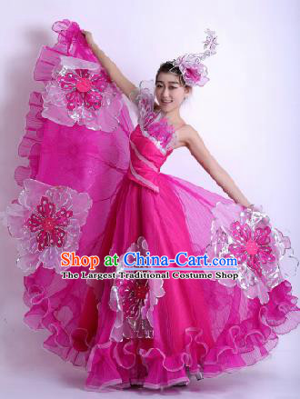 Top Grade Chorus Opening Dance Rosy Dress Modern Dance Stage Performance Costume for Women