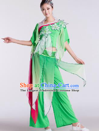 Chinese Traditional Umbrella Dance Costume Classical Dance Stage Performance Green Clothing for Women