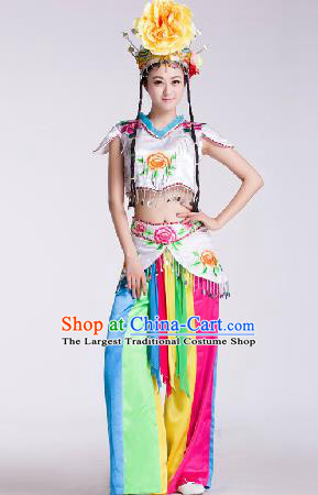 Chinese Traditional Umbrella Dance Costume Classical Dance Stage Performance Clothing for Women