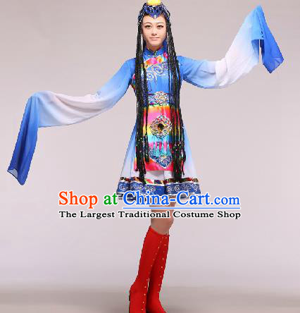 Chinese Traditional Ethnic Dance Costume Zang Nationality Dance Stage Performance Blue Dress for Women
