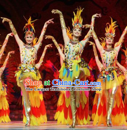 Chinese Traditional Ethnic Dance Costume Feather Dance Stage Performance Clothing for Women
