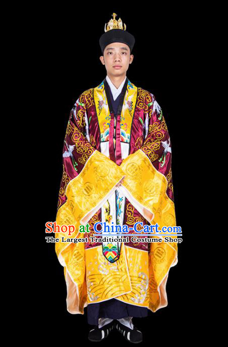 Chinese Traditional Taoism Costume National Taoist Priest Embroidered Cranes Wine Red Cassock for Men