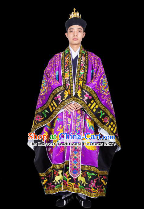 Chinese Traditional Taoism Costume National Taoist Priest Embroidered Dragons Purple Cassock for Men