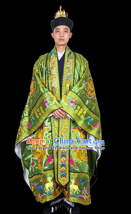 Chinese Traditional Taoism Costume National Taoist Priest Embroidered Dragons Light Green Cassock for Men