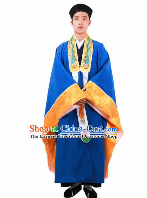 Chinese Traditional Taoism Costume National Taoist Priest Embroidered Bagua Blue Cassock for Men