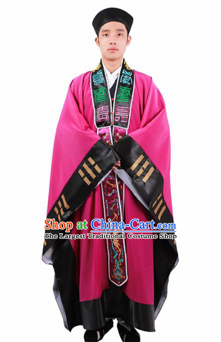 Chinese Traditional Taoism Costume National Taoist Priest Embroidered Bagua Rosy Cassock for Men
