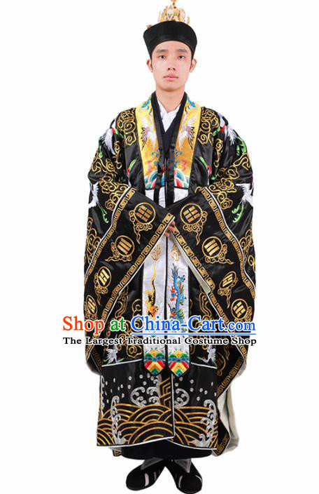 Chinese Traditional Taoism Costume National Taoist Priest Embroidered Cranes Black Cassock for Men
