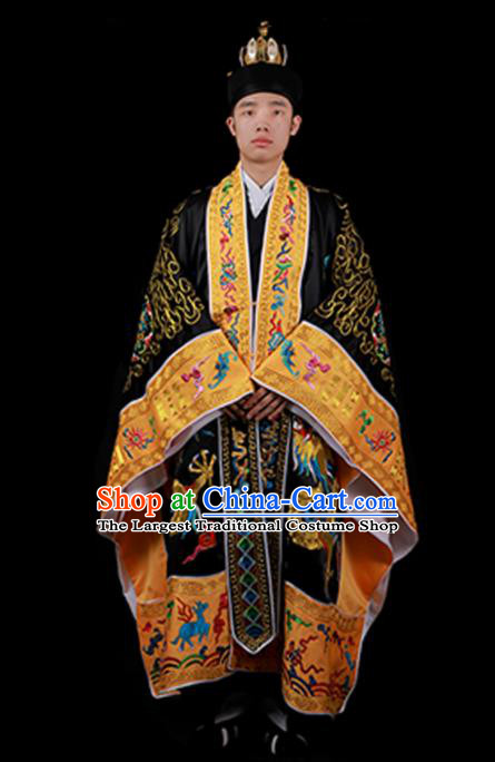 Chinese National Taoist Priest Embroidered Dragons Black Cassock Traditional Taoism Costume for Men