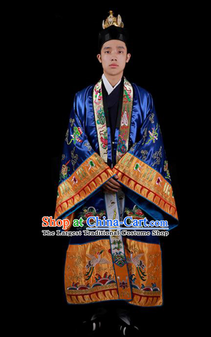 Chinese National Taoist Priest Embroidered Cranes Royalblue Cassock Traditional Taoism Costume for Men