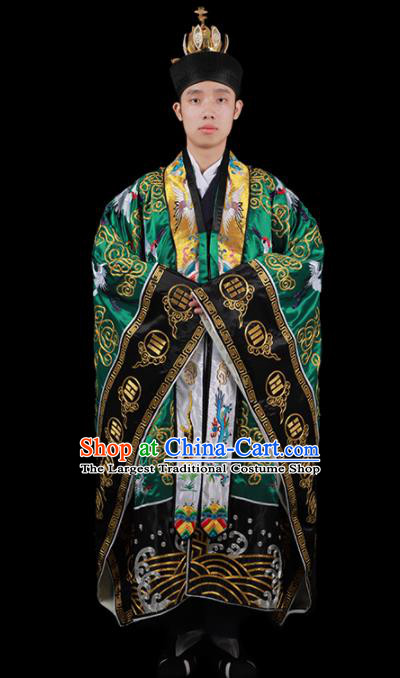 Chinese National Taoist Priest Embroidered Cranes Green Cassock Traditional Taoism Costume for Men