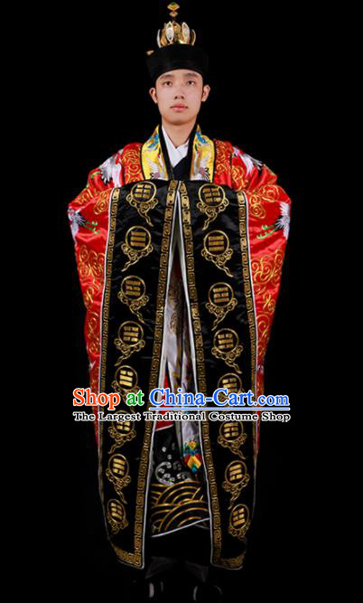 Chinese National Taoist Priest Embroidered Cranes Red Cassock Traditional Taoism Costume for Men
