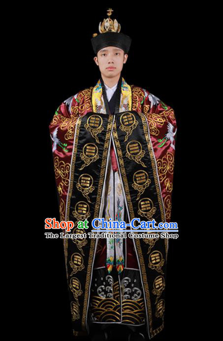 Chinese National Taoist Priest Embroidered Crane Wine Red Cassock Traditional Taoism Rites Costume for Men