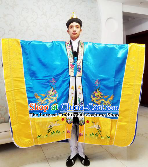 Chinese National Taoism Embroidered Dragons Royalblue Cassock Traditional Taoist Priest Rites Costume for Men