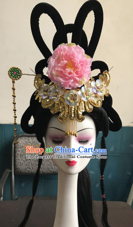 Chinese Traditional Beijing Opera Peri Tassel Hairpins and Wigs Sheath Peking Opera Princess Hair Accessories for Women