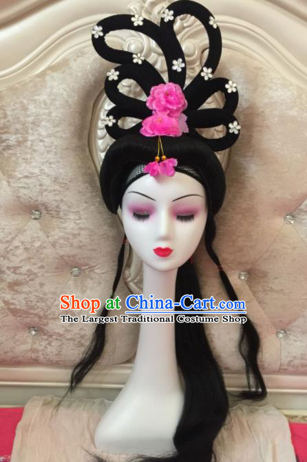 Chinese Traditional Beijing Opera Diva Fairy Wig Sheath Peking Opera Peri Chignon Hair Accessories for Women