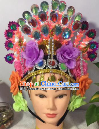 Chinese Traditional Beijing Opera Peri Purple Peony Phoenix Coronet Headwear Peking Opera Diva Hair Accessories for Kids