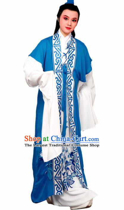 Chinese Traditional Peking Opera Nobility Childe Blue Embroidered Robe Beijing Opera Niche Costume for Men