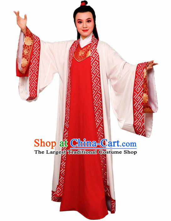 Chinese Traditional Peking Opera Nobility Childe Red Embroidered Robe Beijing Opera Niche Costume for Men