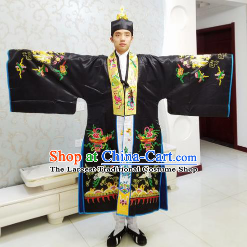 Chinese National Taoism Embroidered Black Cassock Traditional Taoist Priest Rites Costume for Men