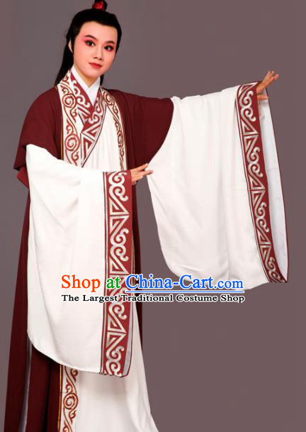 Chinese Traditional Peking Opera Nobility Childe Wine Red Embroidered Robe Beijing Opera Niche Costume for Men