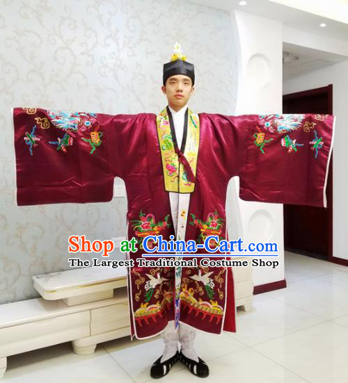 Chinese National Taoism Embroidered Wine Red Cassock Traditional Taoist Priest Rites Costume for Men