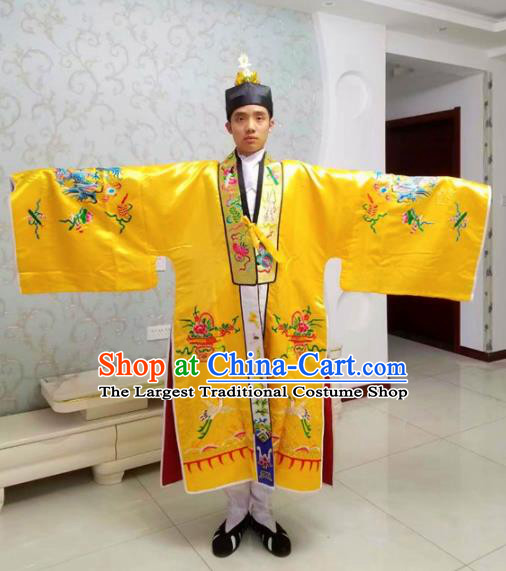 Chinese National Taoism Embroidered Dragons Yellow Priest Frock Cassock Traditional Taoist Priest Rites Costume for Men