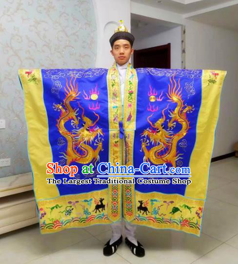 Chinese National Taoism Embroidered Dragons Royalblue Priest Frock Cassock Traditional Taoist Priest Rites Costume for Men
