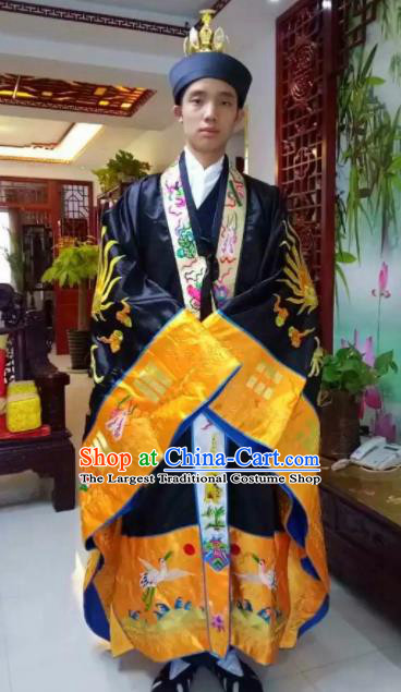 Chinese National Taoism Embroidered Dragons Black Priest Frock Cassock Traditional Taoist Priest Rites Costume for Men