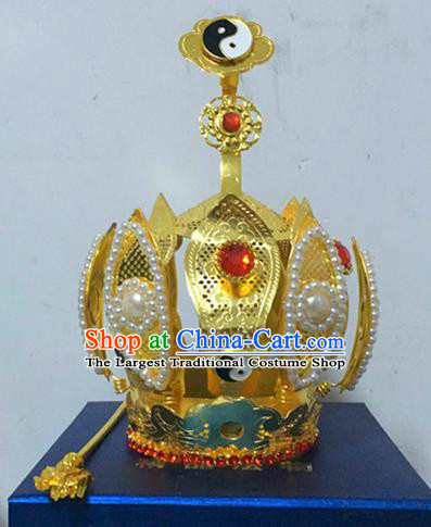 Chinese Traditional Taoism Headwear National Taoist Priest Bagua Hairdo Crown for Men