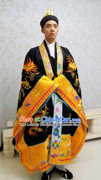 Chinese National Taoism Embroidered Dragons Tower Black Cassock Traditional Taoist Priest Rites Costume for Men