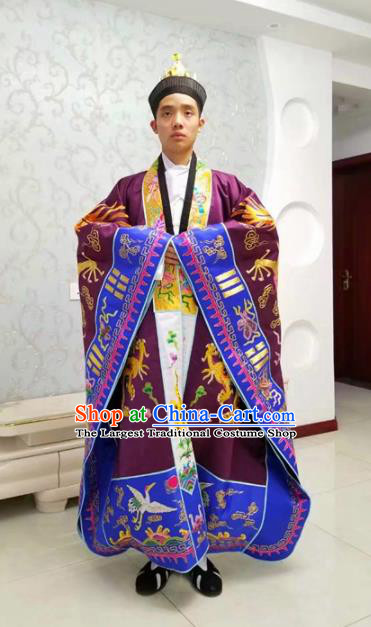Chinese National Taoism Priest Frock Embroidered Purple Cassock Traditional Taoist Priest Rites Costume for Men