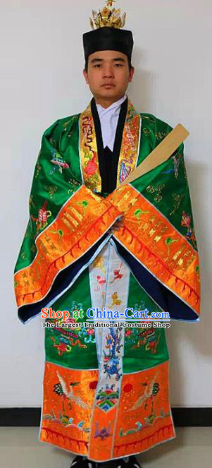 Chinese National Taoism Priest Frock Embroidered Tower Green Cassock Traditional Taoist Priest Rites Costume for Men