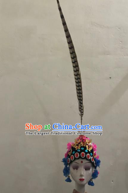 Chinese Traditional Beijing Opera Feather Headwear Peking Opera Diva Hair Accessories for Women
