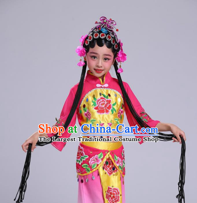Chinese Traditional Beijing Opera Costume Peking Opera Diva Rosy Clothing for Kids