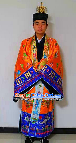 Chinese National Taoism Priest Frock Embroidered Tower Golden Cassock Traditional Taoist Priest Rites Costume for Men