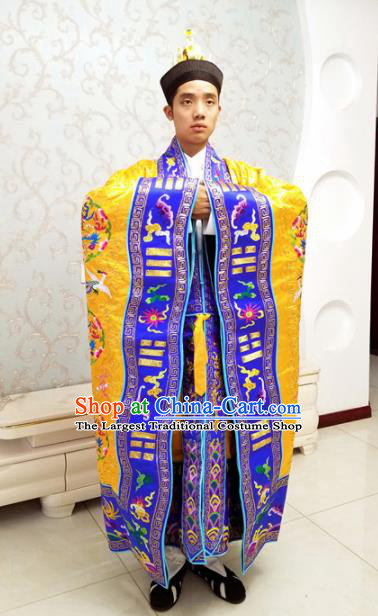 Chinese National Taoism Priest Frock Embroidered Cranes Golden Cassock Traditional Taoist Priest Rites Costume for Men