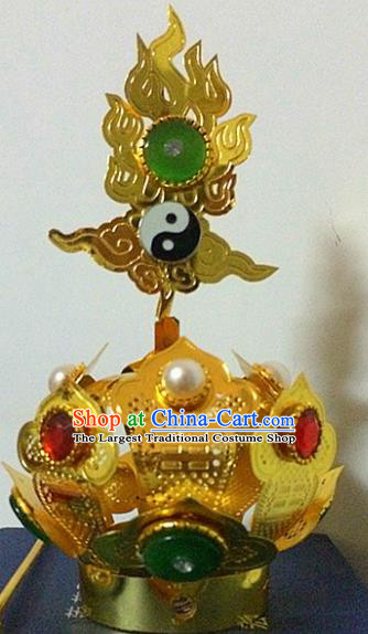 Chinese Traditional Taoism Headwear National Taoist Priest Bagua Golden Hairdo Crown for Men