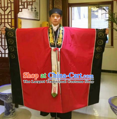 Chinese National Taoism Red Priest Frock Cassock Traditional Taoist Priest Rites Costume for Men