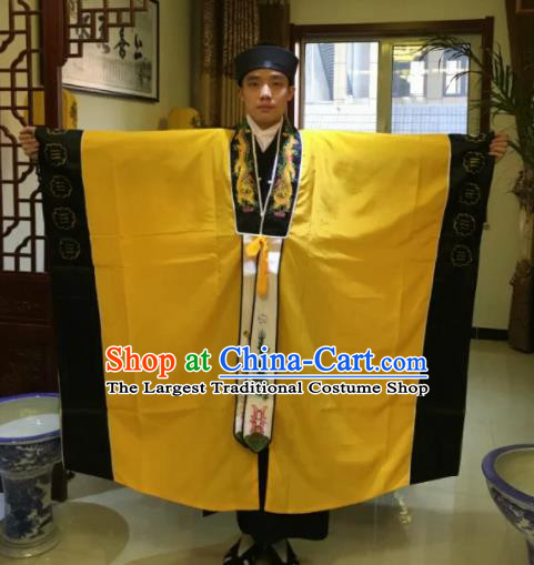 Chinese National Taoism Yellow Priest Frock Cassock Traditional Taoist Priest Rites Costume for Men