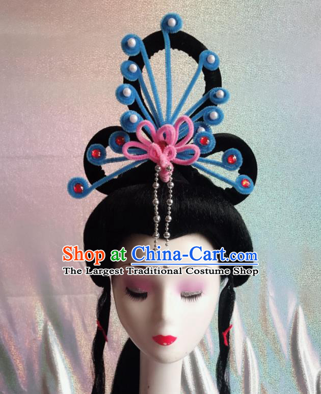 Chinese Traditional Beijing Opera Peri Blue Phoenix Hairpins Peking Opera Diva Hair Accessories for Women