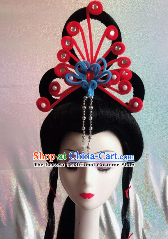 Chinese Traditional Beijing Opera Peri Red Phoenix Hairpins Peking Opera Diva Hair Accessories for Women