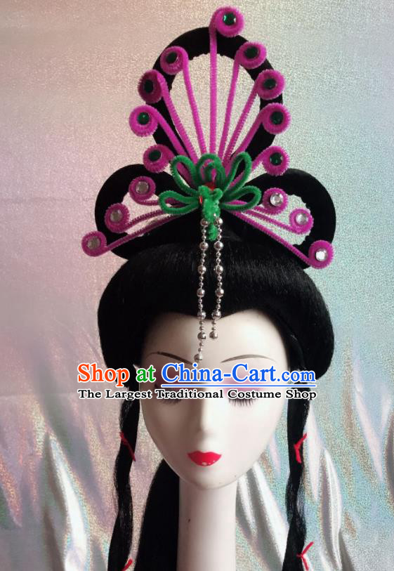 Chinese Traditional Beijing Opera Peri Purple Phoenix Hairpins Peking Opera Diva Hair Accessories for Women
