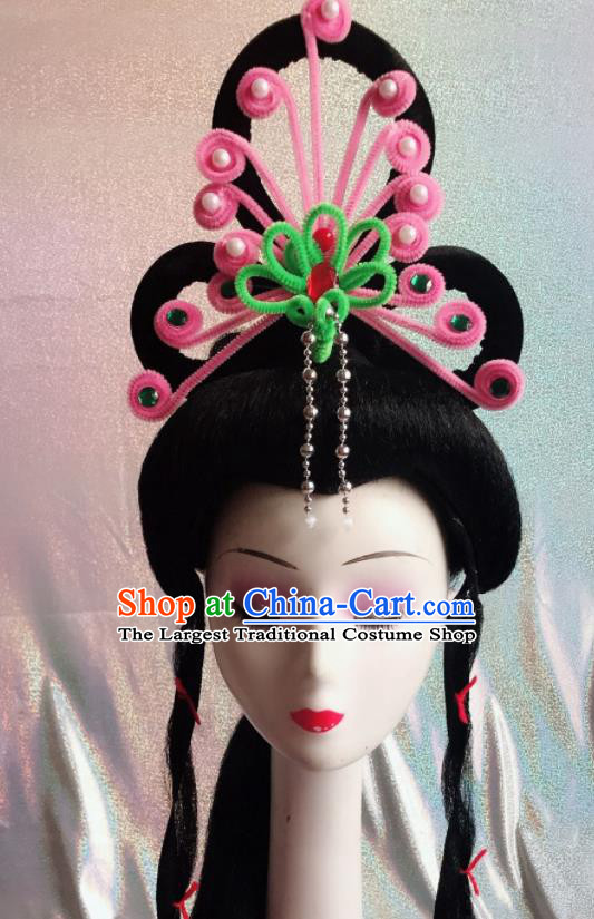 Chinese Traditional Beijing Opera Peri Pink Phoenix Hairpins Peking Opera Diva Hair Accessories for Women