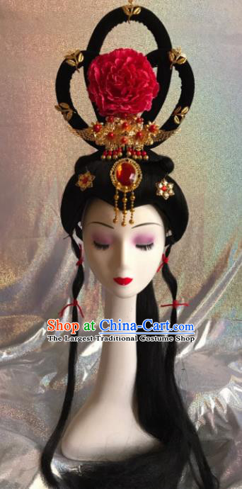 Chinese Traditional Beijing Opera Princess Wigs and Red Peony Hairpins Peking Opera Diva Hair Accessories for Women