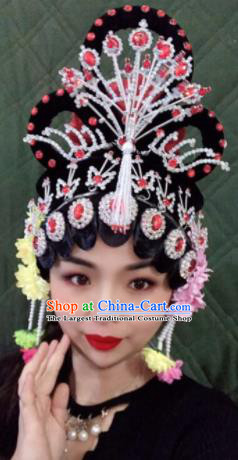 Chinese Traditional Beijing Opera Imperial Consort Wigs and Phoenix Hairpins Peking Opera Diva Hair Accessories for Women