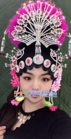 Chinese Traditional Beijing Opera Princess Wigs and Phoenix Hairpins Peking Opera Diva Hair Accessories for Women