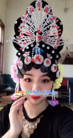 Chinese Traditional Beijing Opera Peri Wigs and Phoenix Hairpins Peking Opera Diva Hair Accessories for Women