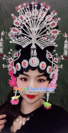 Chinese Traditional Beijing Opera Peri Princess Wigs and Phoenix Hairpins Peking Opera Diva Hair Accessories for Women