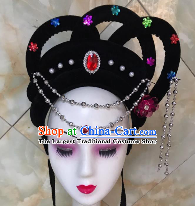 Chinese Traditional Beijing Opera Nobility Lady Wigs and Hairpins Peking Opera Princess Hair Accessories for Women